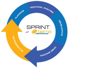 Infographic that explain steps in Tiama's sprint in agile method